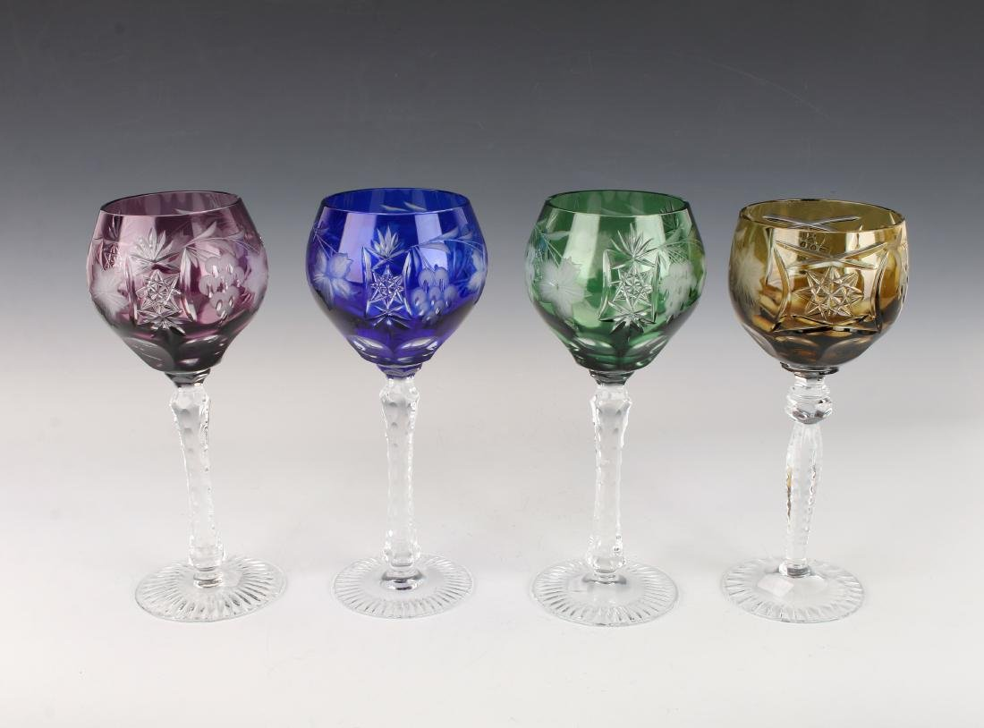FOUR MULTICOLORED ETCHED CRYSTAL WINE GOBLETS