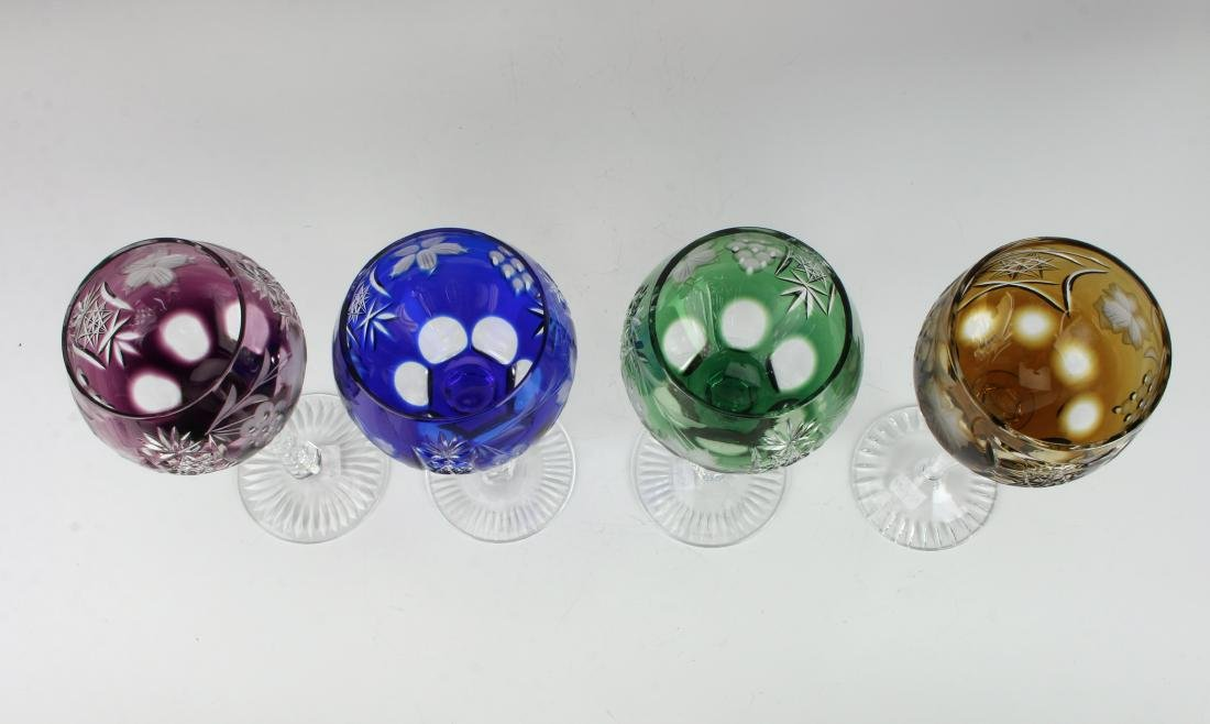 FOUR MULTICOLORED ETCHED CRYSTAL WINE GOBLETS - 3