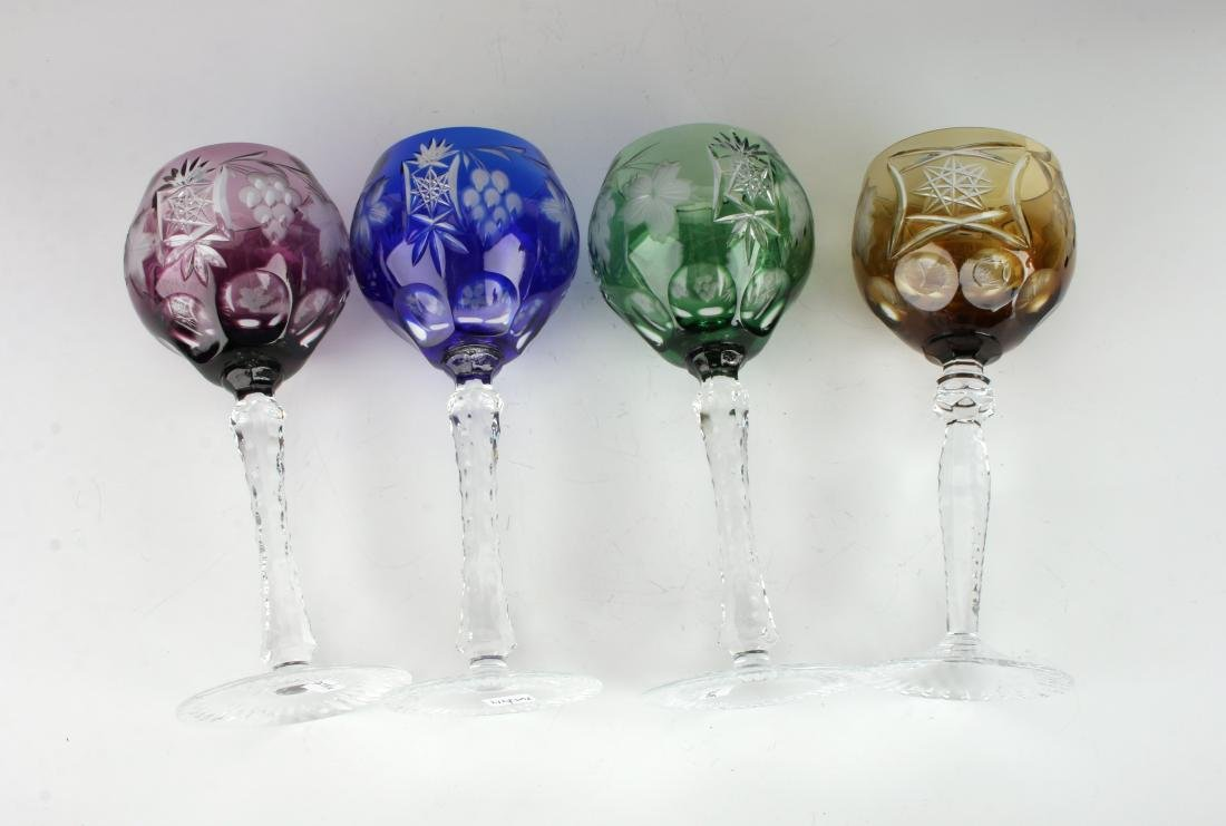 FOUR MULTICOLORED ETCHED CRYSTAL WINE GOBLETS - 4