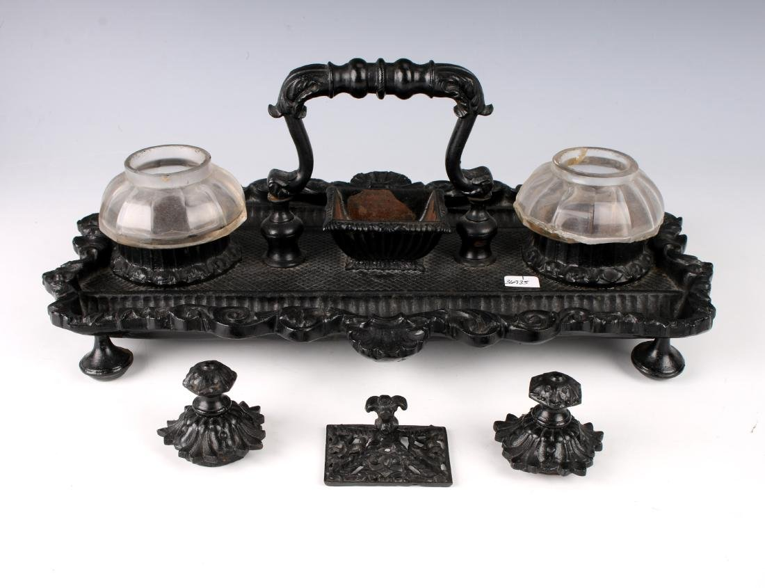 VINTAGE CAST IRON & GLASS INKWELL - 3