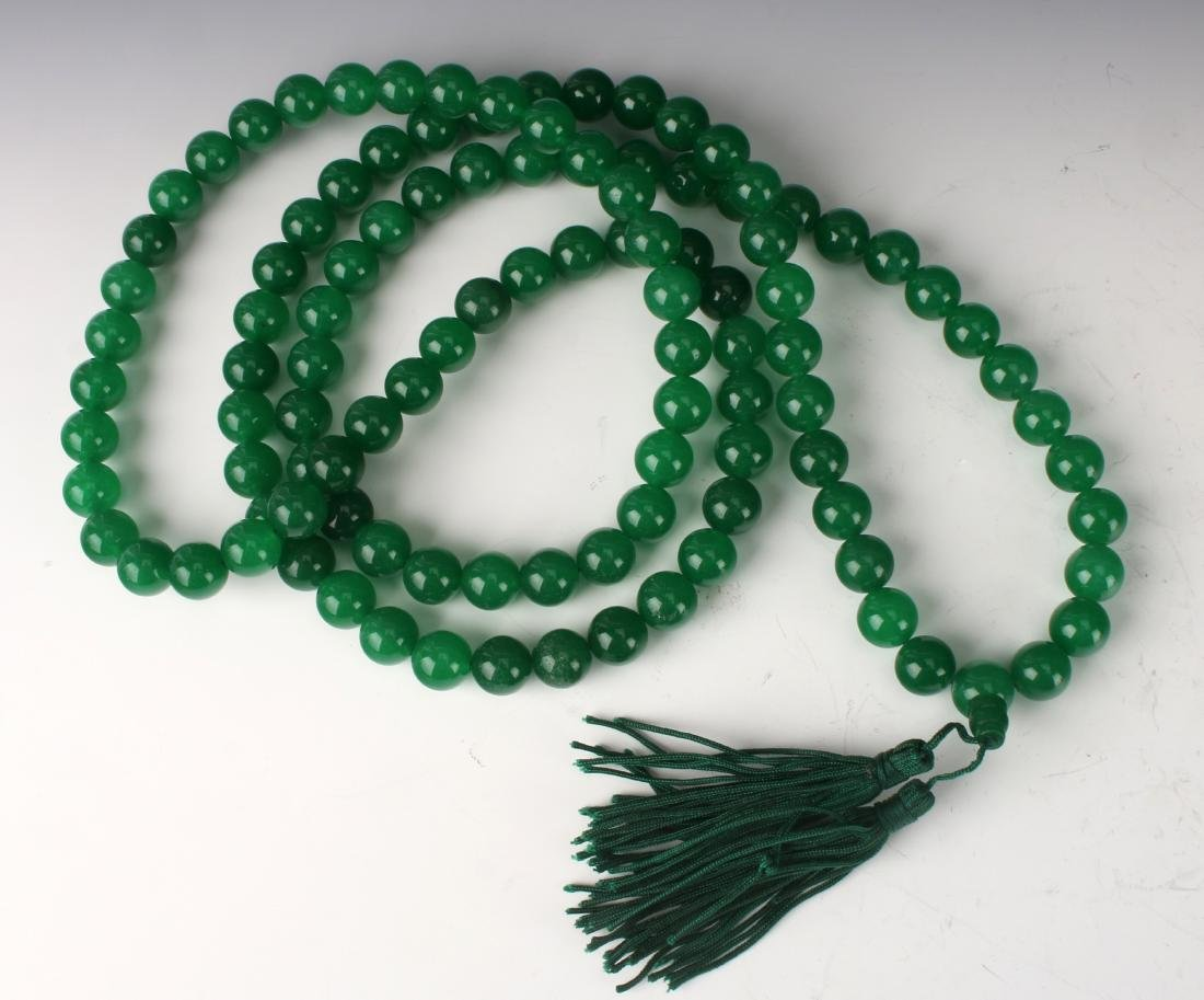 GREEN JADE BEAD MALA NECKLACE