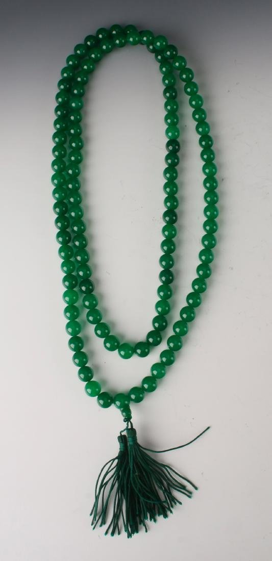 GREEN JADE BEAD MALA NECKLACE - 2