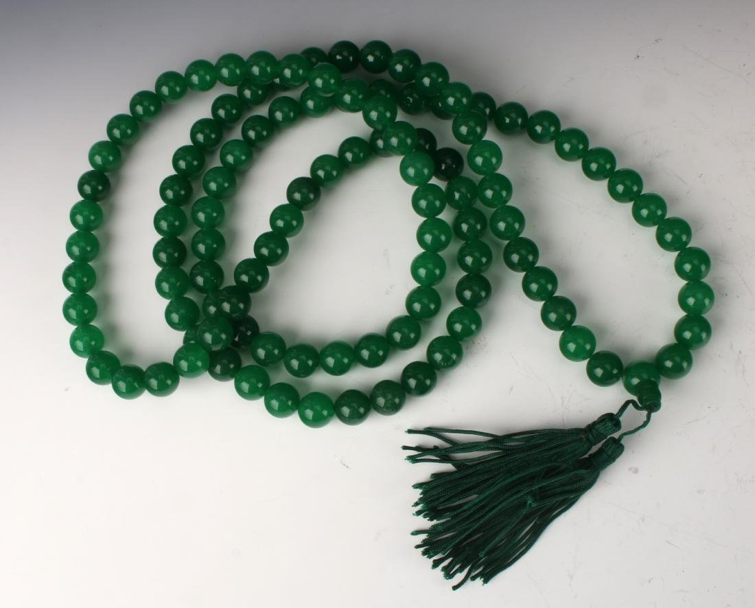 GREEN JADE BEAD MALA NECKLACE - 3