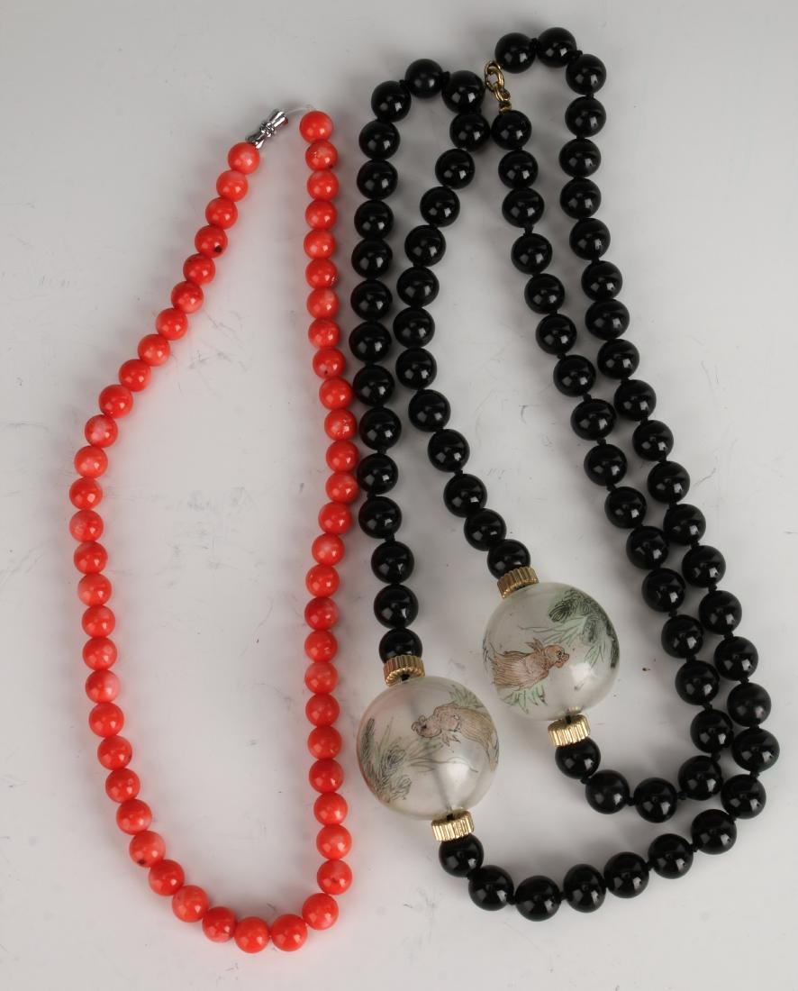 TWO NECKLACES OF CORAL AND ONYX - 2
