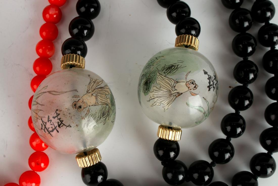 TWO NECKLACES OF CORAL AND ONYX - 3