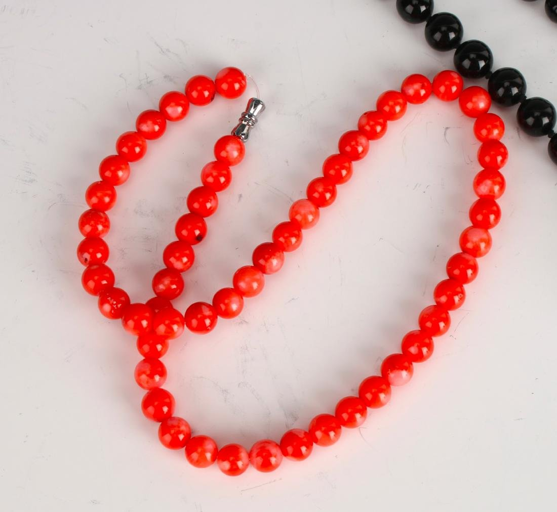 TWO NECKLACES OF CORAL AND ONYX - 5