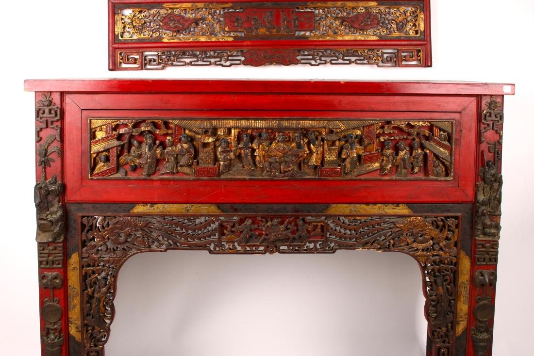 CHINESE STYLE CARVED SIDE TABLE - 4