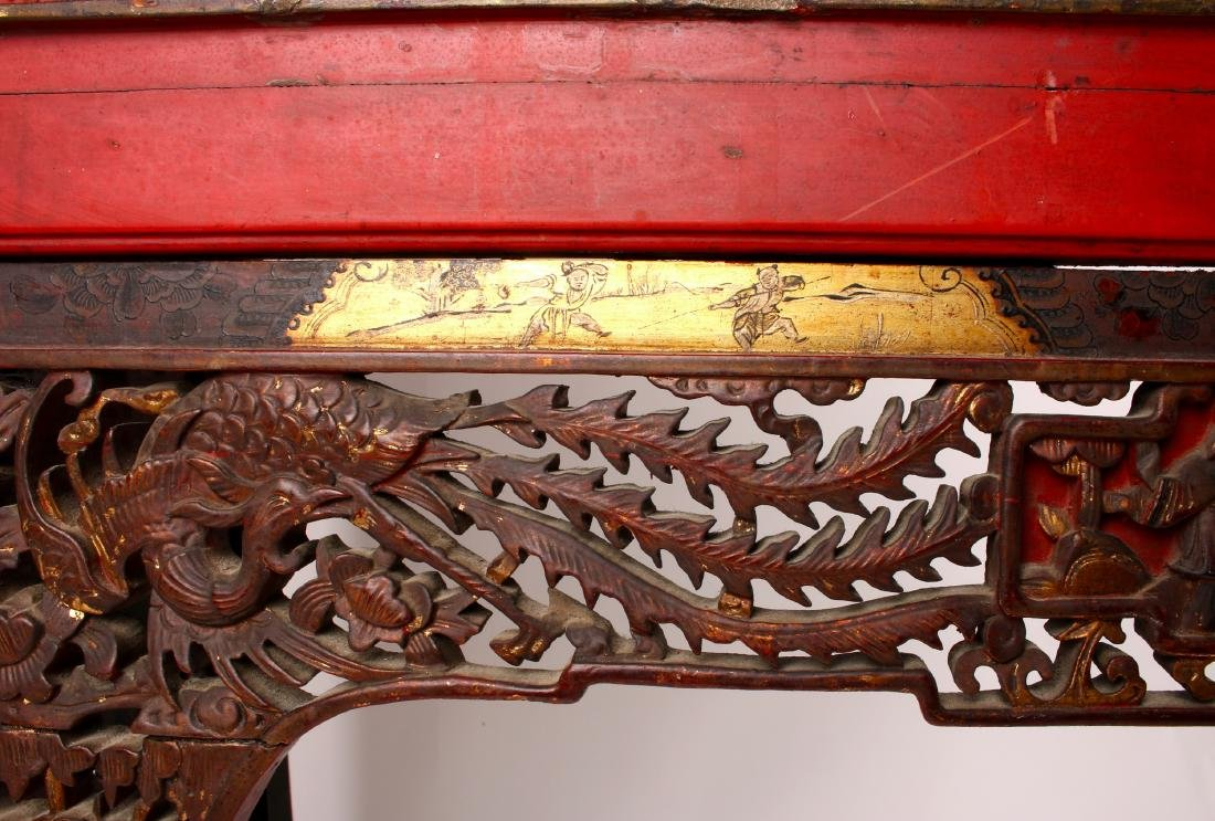 CHINESE STYLE CARVED SIDE TABLE - 5