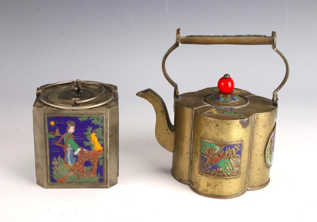 ENAMELED WINE WARMER AND TEA POT