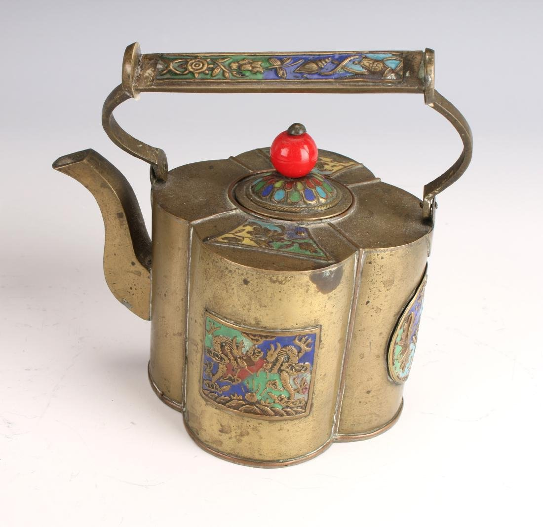 ENAMELED WINE WARMER AND TEA POT - 4