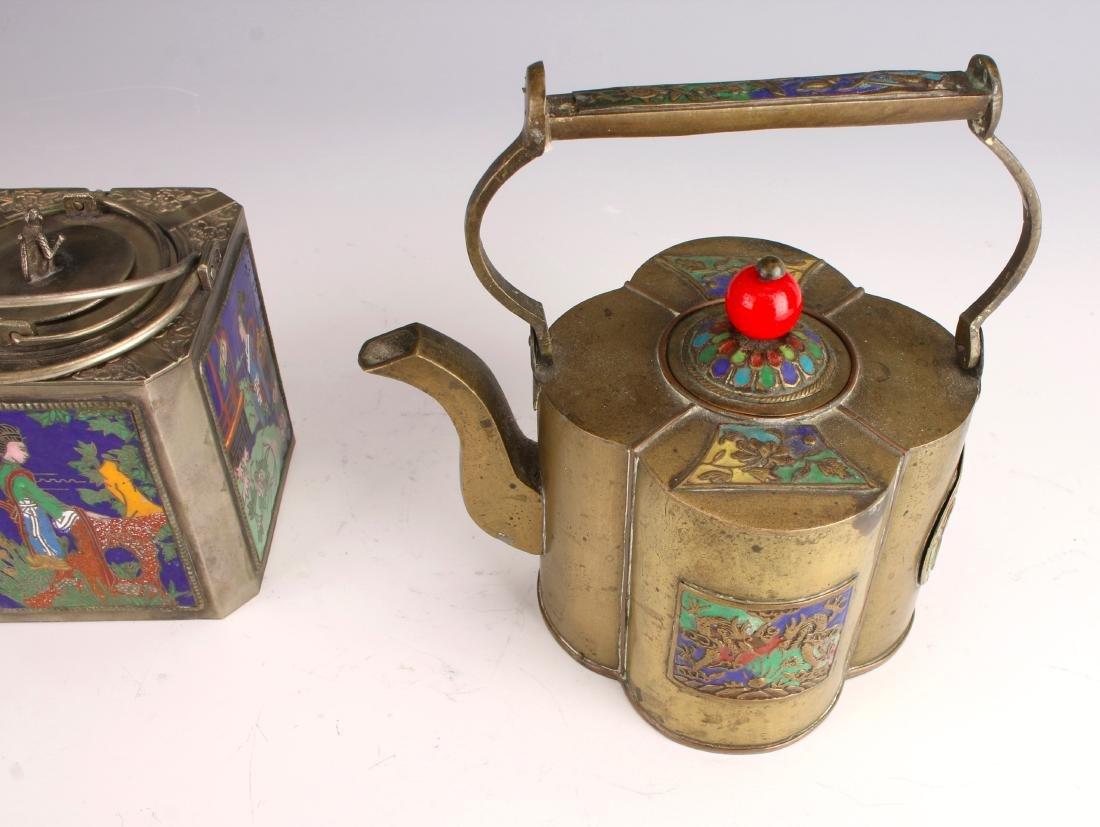 ENAMELED WINE WARMER AND TEA POT - 7
