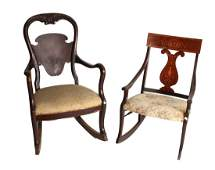 TWO SMALL VICTORIAN ROCKING CHAIRS