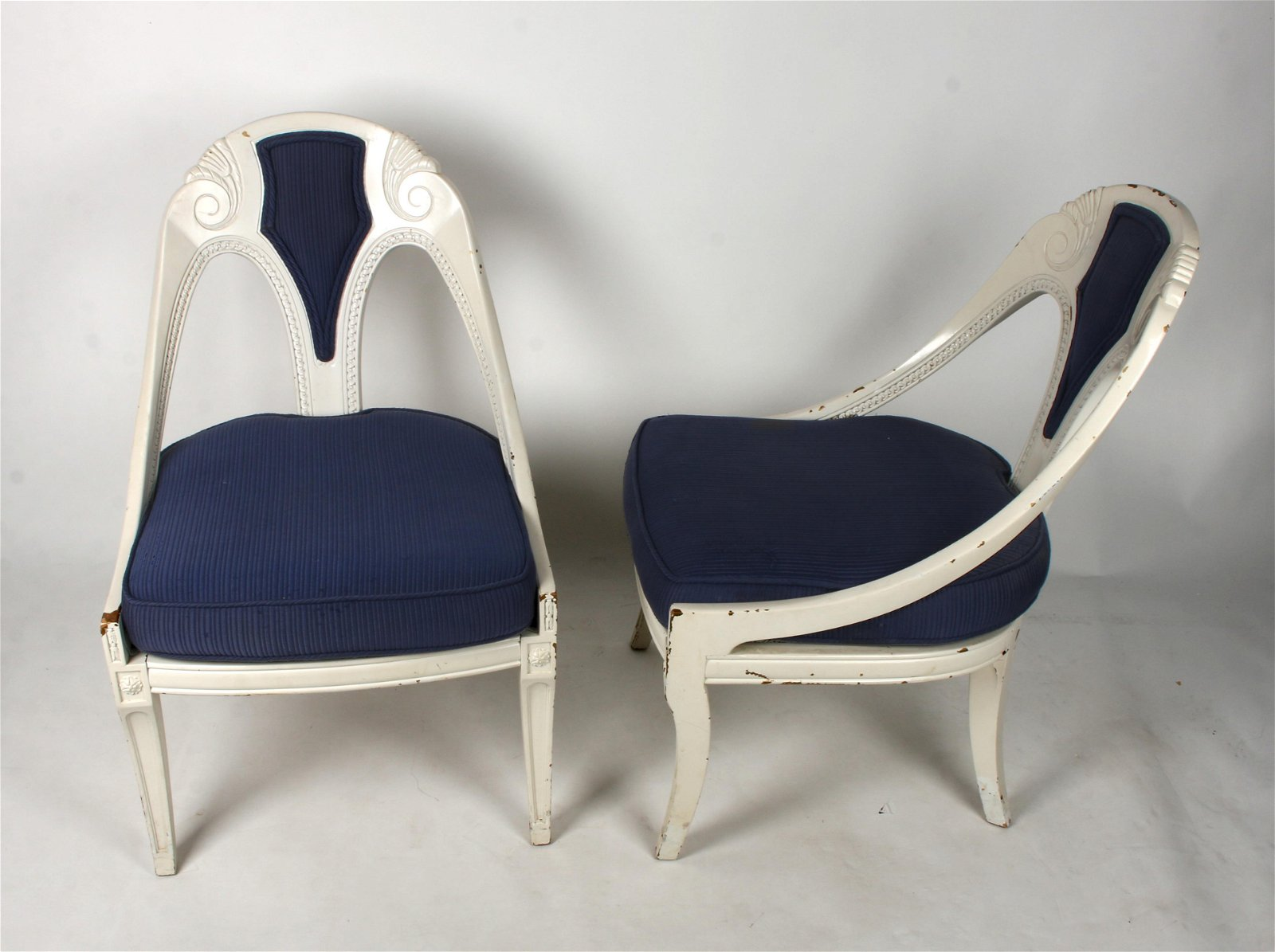 PAIR HOLLYWOOD REGENCY BLUE & WHITE CHAIRS