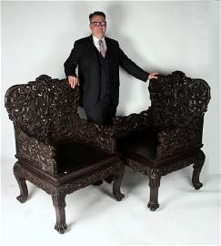 PAIR ELABORATELY CARVED QING ZITAN DRAGON CHAIRS