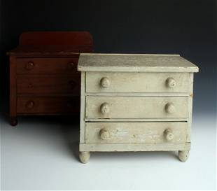 2 SALESMAN SAMPLE DOLL HOUSE CHESTS