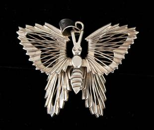 LARGE MEXICAN STERLING WIRE BUTTERFLY PENDANT