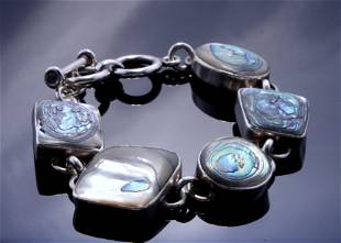 STERLING ABALONE MEXICAN LINK BRACELET
