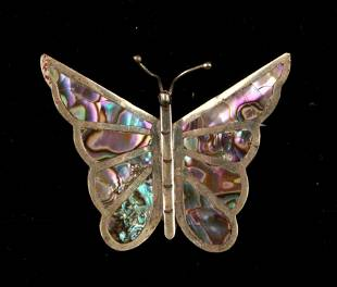 LG VINTAGE MEXICAN STERLING ABALONE BUTTERFLY PIN