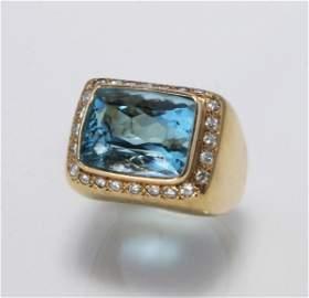 RARE GENUINE 9.5 CT AQUAMARINE DIAMOND RING