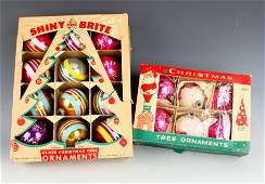 2 BOXES VINTAGE CHRISTMAS BALL ORNAMENTS