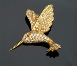 18K YG DIAMOND & RUBY HUMMINGBIRD PIN