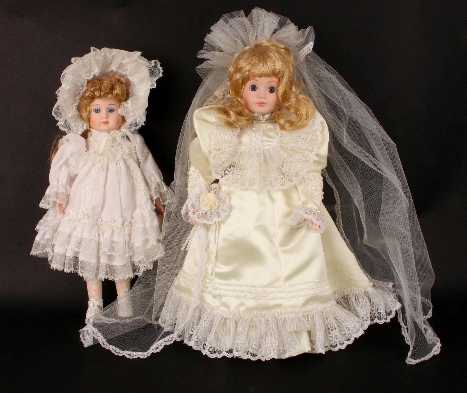 2 PORCELAIN DOLLS BRIDE VICTORIAN CHILD MUSIC BOX