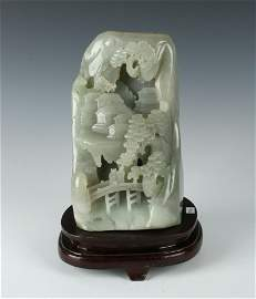 LARGE CARVED JADE MOUNTAIN VILLAGE ON STAND