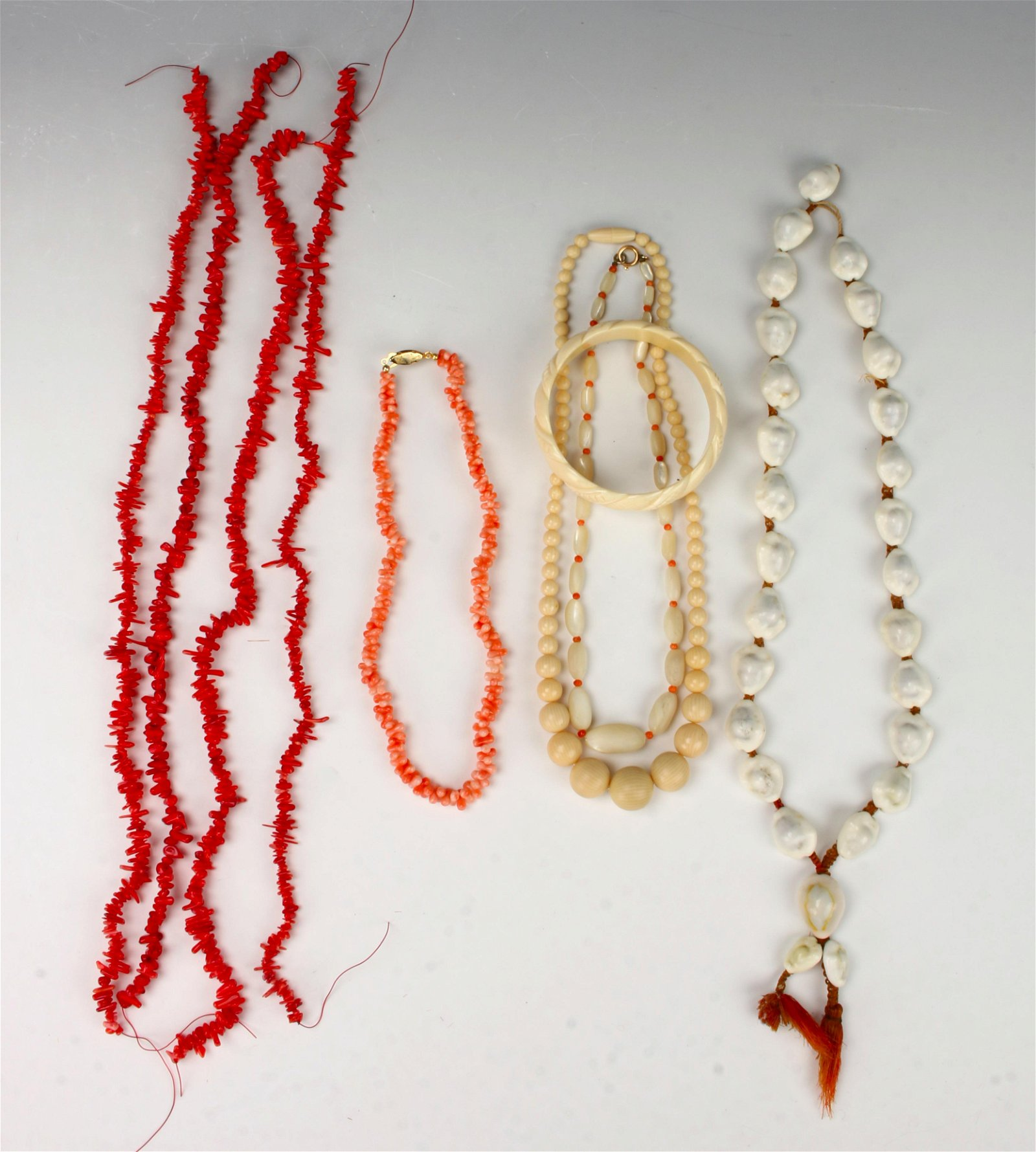 LOT OF BRANCH CORAL, COWRIE SHELL, BONE NECKLACES
