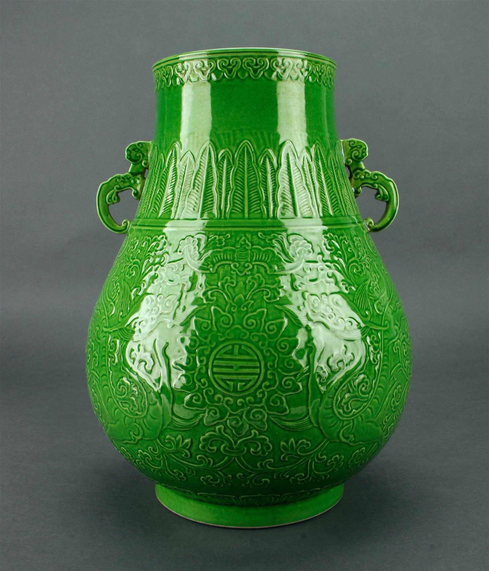 BRIGHT GREEN CARVED ARCHAIC DRAGON VASE