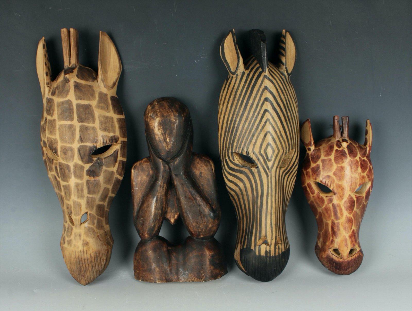 4 AFRICAN WOOD CARVINGS