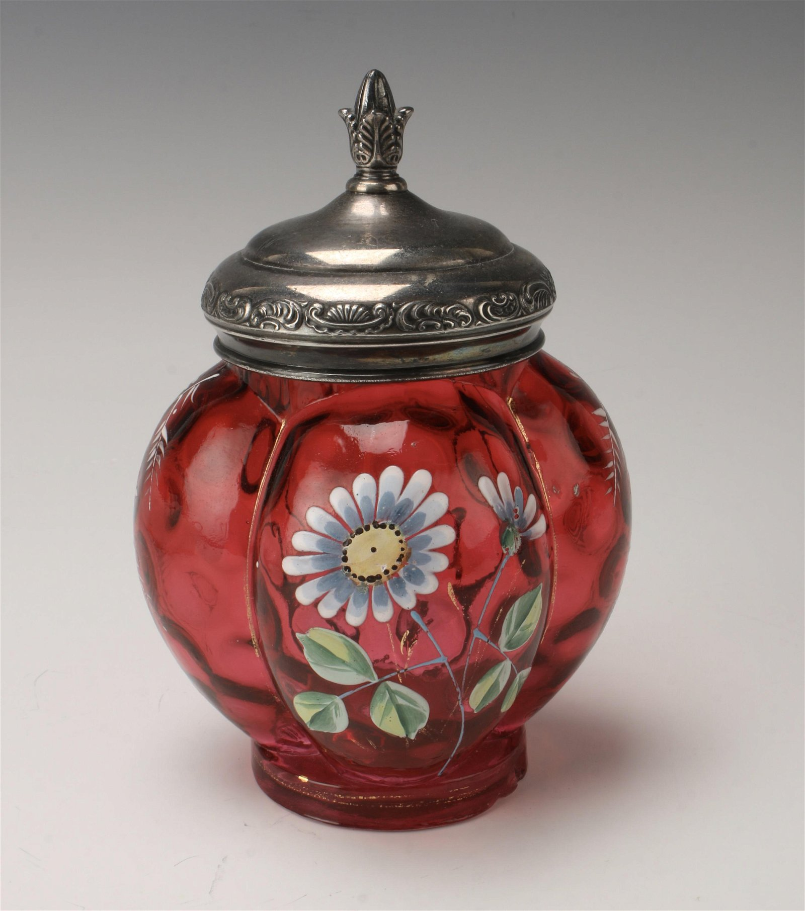 LATE VICTORIAN CRANBERRY GLASS LOBED JAR