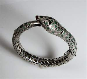 ANTIQUE SNAKE BRACELET WITH RUBY AND EMERALDS