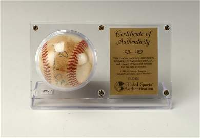 SIGNED JIMMIE FOXX BASEBALL IN DISPLAY CASE