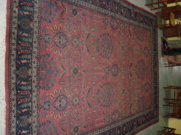 1: Oriental rug with border patterns in a leaf pattern