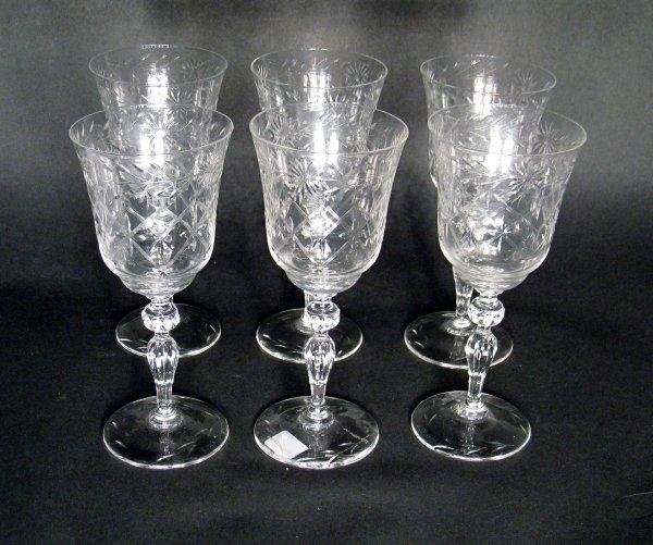 """2: Six 7 1/2"""" cut glass goblets."""