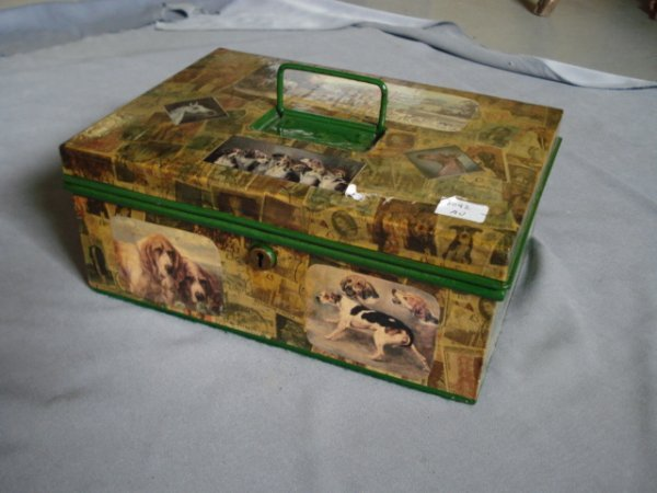 11: Decoupage decorated strong box with fox hunt