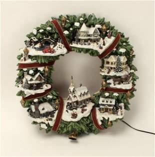 THOMAS KINKADE CHRISTMAS VILLAGE WREATH