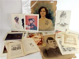 ASSEMBLED LOT ART PRINTS, PORTRAITS, CERTIFICATES