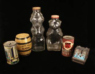 BANK LOT WITH VINTAGE SNOW CREST GLASS BANKS