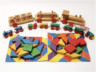 LOT OF WOODEN TRAIN & STACKING BLOCK TOYS