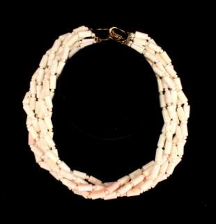 ANGELSKIN CORAL CHOKER NECKLACE 14K CLASP