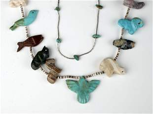 3 NATIVE AMERICAN NECKLACES ZUNI FETISH TURQUOISE