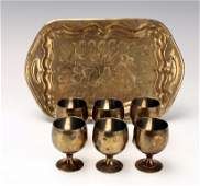 SET OF 6 SMALL BRASS CUPS  TRAY