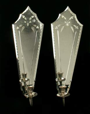 PAIR ETCHED MIRROR WALL CANDLE SCONCES