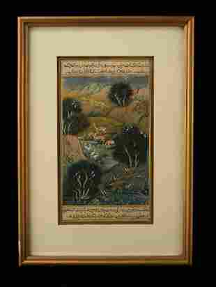 INDIAN ART MINIATURE PAINTING LANDSCAPE