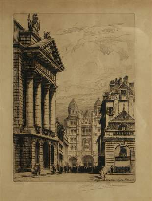 SIGNED ETCHING OF EGLISE ST. MICHEL IN DIJON