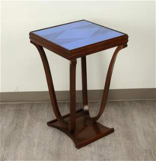 ART DECO COBALT ETCHED MIRROR TOP SIDE TABLE