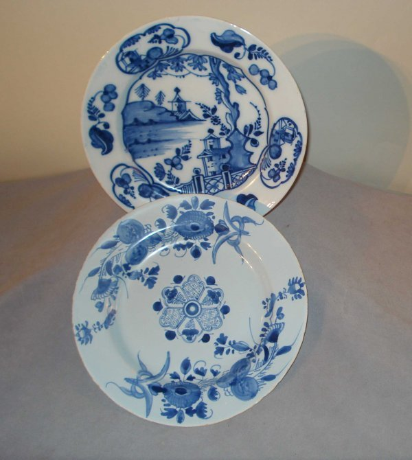 21: Two Associated Blue and White Glazed Plates