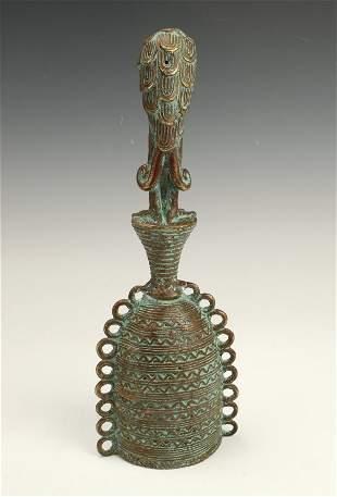 YUROBA BRONZE BELL WITH BIRD NIGERIA