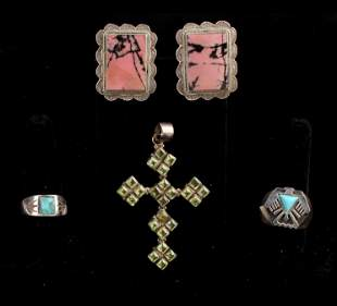 VINTAGE STERLING NATIVE AMERICAN MEXICAN JEWELRY